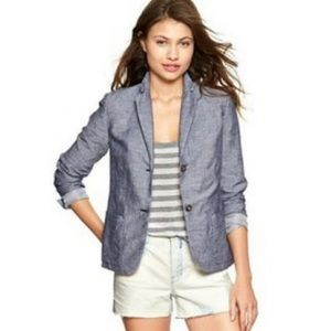 Gap | Classic Blazer Chambray Blue Linen Cotton